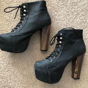 Black platform lace up booties